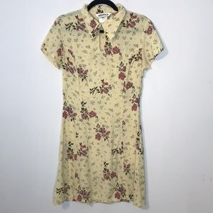 Vintage collar floral print butterfly mini dress